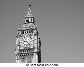 Black and white Big Ben in London
