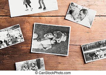 black-and-white, bilder, av, seniors., ateljé fotograferade, trä, bakgrund