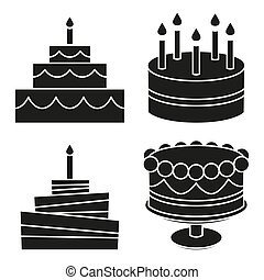 Black and white birthday cake silhouette set