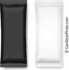 Black and white blank foil packaging for food