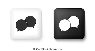 Black and white Blank speech bubbles icon isolated on white background. Square button. Vector
