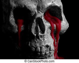 Black and White Bleeding Skull