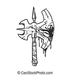 black and white bloody axe