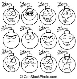 Black And White Bomb Face Cartoon Mascot Character With Emoji Expressions