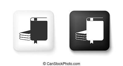 Black and white Book icon isolated on white background. Square button. Vector