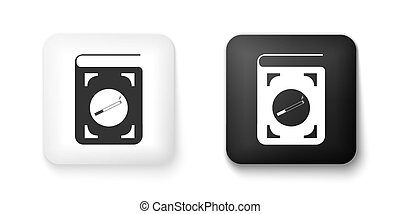 Black and white Book with cigarette icon isolated on white background. Square button. Vector