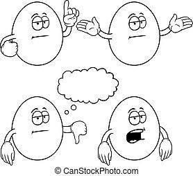Black and white bored egg set