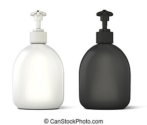 Black and white bottles template for soap