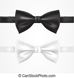 Black and white bow tie - Editable vector objects