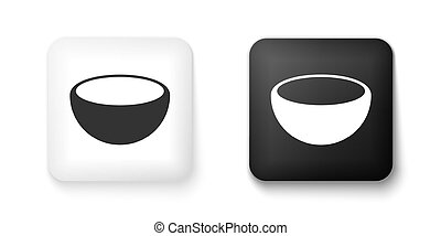 Black and white Bowl icon isolated on white background. Square button. Vector