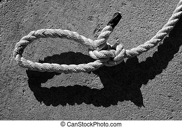 black and white bowline gauze on marine rope and shadow