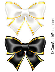 Black and white bows with golden edging