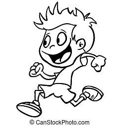 black and white boy run