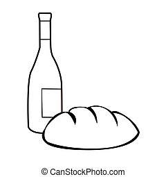 black and white bread and wine cartoon