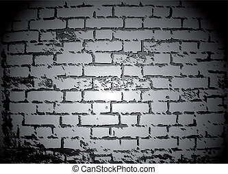 Black And White Brick Wall. Vector - Old collapsing brick...