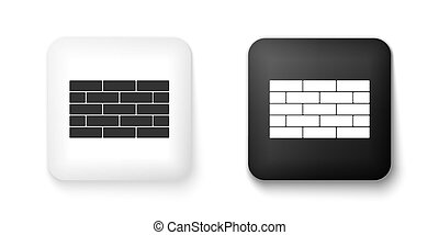 Black and white Bricks icon isolated on white background. Square button. Vector