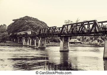 Black and white bridge over the River Kwai