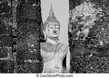 Black and White Buddha statue Sukho