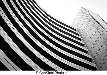 Black and white building curve shape