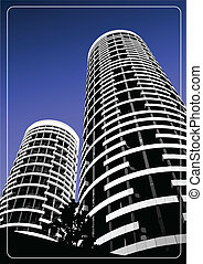 Black and white building silhouette on sky background....