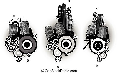 Black and white  buildings with circles. Vector art