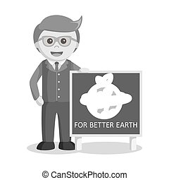 black and white businessman and earth poster