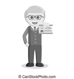 black and white businessman and his id card