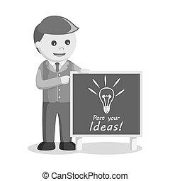 black and white businessman and idea board
