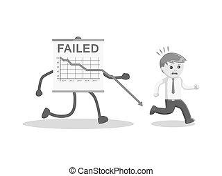 black and white businessman cashed failed progress