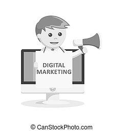 black and white businessman digital marketing