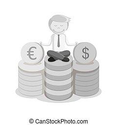 black and white Businessman money meditating
