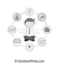 black and white Businessman routine meditation
