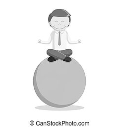 black and white businessman world meditation