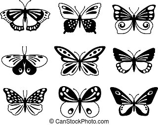 Black and white butterflies. Back butterfly silhouettes with...