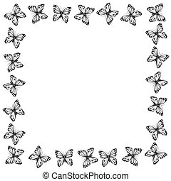 Black and white butterflies frame