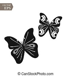 Black and white butterflies on white background. vector...