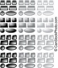 black and white buttons