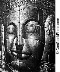 Black and White Cambodian Buddha Face Picture Close Up