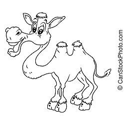 black and white Camel Cartoon