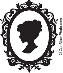 Black and White Cameo - Black and White Illustration of a...