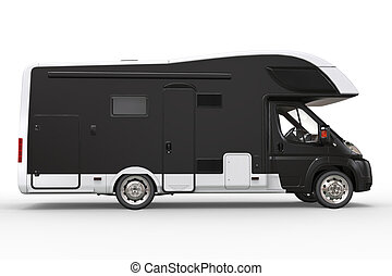 Black and white camper vehicle - side door view