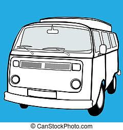 Black and white campervan - Camper van in simple illustrated...