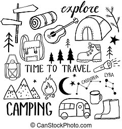 Black and white camping set. Travel kit collection. ...