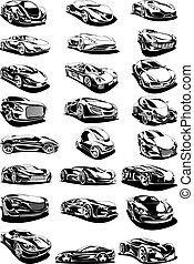 black and white car set isolated on the white background