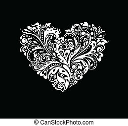 Black and white card with heart shape