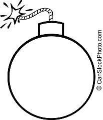 Black and White Cartoon Bomb