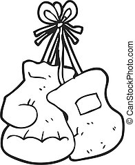 black and white cartoon boxing gloves - freehand drawn black...