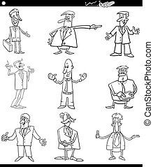 black and white cartoon businessmen set