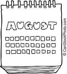 black and white cartoon calendar showing month of august -...