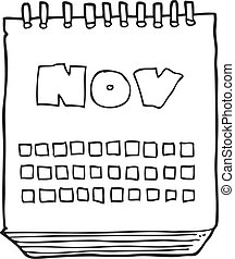 black and white cartoon calendar showing month of november -...
